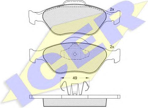 Stabdžių trinkelės Ford Fiesta 95> /Fusion/Mazda 2 02> (ICER) 181343