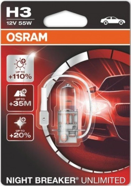 H3 OSRAM NIGHT BREAKER UNLIMITED +110% šviesos 55W12V