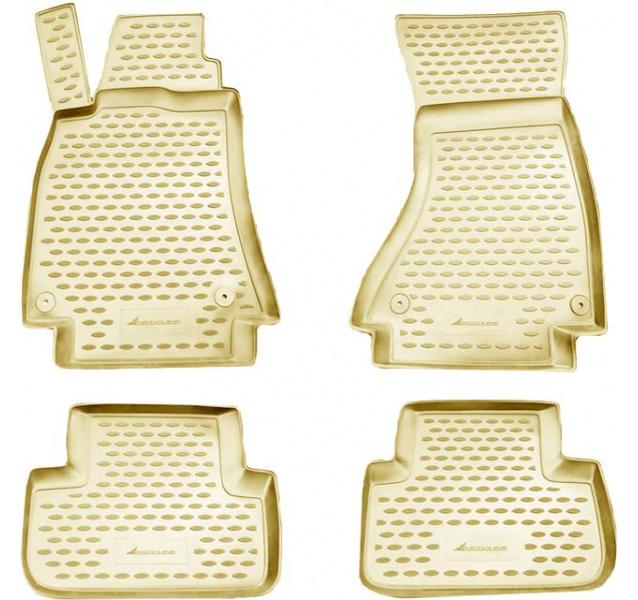 Guminiai kilimėliai 3D AUDI A4 B8 2007-2015, 4 pcs. /L03004B /beige